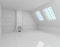 Interior del hogar con la representación de la chimenea 3D Imagen de archivo libre de regalías