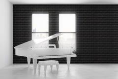 Interior del ladrillo con el piano Imágenes de archivo libres de regalías