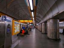 Interior del metro de Praga en la República Checa imagen de archivo libre de regalías