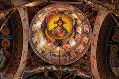 Interior del monasterio cristiano Kaona Imagen de archivo libre de regalías