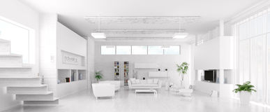Interior del panorama blanco moderno de la sala de estar Imagen de archivo