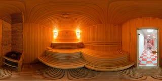 Interior del panorama 360 el baño de la sauna Imágenes de archivo libres de regalías