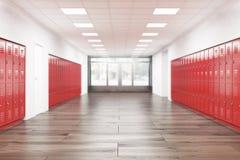 Interior del pasillo de la High School secundaria Foto de archivo libre de regalías