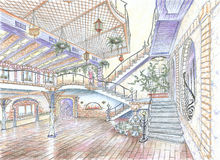 Interior del pasillo del restaurante Imagenes de archivo
