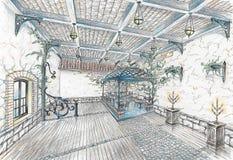 Interior del pasillo del restaurante en el estilo del stree de la ciudad Imagen de archivo libre de regalías