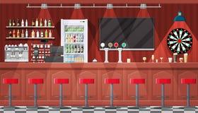 Interior del pub, del café o de la barra ilustración del vector