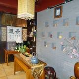 Interior del restaurante chino del té Imagen de archivo libre de regalías