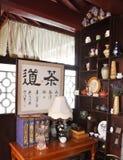 Interior del restaurante chino del té Fotografía de archivo