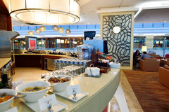 Interior del salón de la clase de negocios de los emiratos Imagenes de archivo
