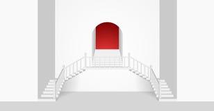 Interior del sitio blanco con un Strairs y un arco Ilustración del vector Fotografía de archivo libre de regalías