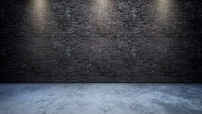 interior del sitio 3D con la pared de ladrillo con los proyectores que brillan abajo Foto de archivo