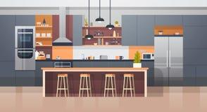 Interior del sitio de la cocina con el contador y los dispositivos modernos de los muebles ilustración del vector