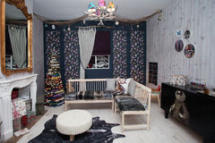 Interior del sitio de la Navidad Foto de archivo libre de regalías