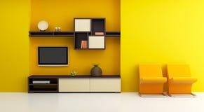 Interior del sitio del salón con el estante y la TV