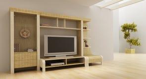 Interior del sitio del salón con el estante y la TV ilustración del vector