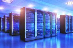 Interior del sitio del servidor en datacenter stock de ilustración
