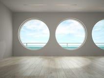 Interior del sitio vacío con la representación de la opinión 3D del mar Foto de archivo libre de regalías