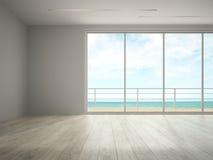 Interior del sitio vacío con la representación de la opinión 3D del mar imágenes de archivo libres de regalías