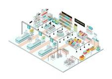 Interior del supermercado Colmado Ejemplo isométrico colorido Imagen de archivo