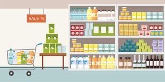 Interior del supermercado con el producto básico en estante y el carro de la compra ilustración del vector