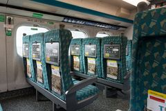 Interior del tren de alta velocidad de Taiwán en la estación de Zuoying Foto de archivo