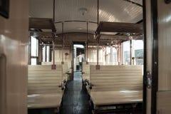 Interior del tren del vintage Fotos de archivo libres de regalías