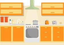 Interior del vector de la cocina con las fuentes de los muebles y del hogar Ejemplo mínimo plano Imágenes de archivo libres de regalías