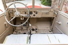 Interior del vehículo militar viejo Imagen de archivo libre de regalías
