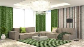 Interior del verde con el sofá y las cortinas rojas ilustración 3D Fotos de archivo