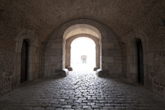 Interior del vintage del castillo de Montjuïc Imagen de archivo libre de regalías