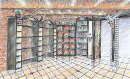 Interior del wineshop Fotografía de archivo