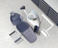 Interior dental de la oficina con el equipo y el gabinete azules metálicos de la unidad stock de ilustración