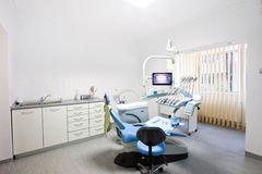 Interior of a dental medicine room. Dental chair and equipment, orthodontics department royalty free stock images