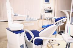 Interior of dental room in clinic. Interior of dental room in modern clinic royalty free stock photos