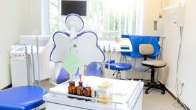 Interior of empty dentist office in bright sunny day. Interior of dentist office in bright sunny day royalty free stock images