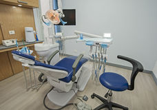 Interior of dentist surgery clinic with chair. Interior design of dentist surgery room in medical clinic with chair and equipment Royalty Free Stock Image