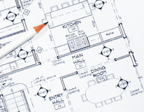 Interior Design. A concept image for interior design including a pencil to make changes as required stock photography
