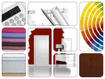 Interior design. Composition of materials and design tools