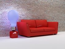 Interior design. Living room with red sofa and design blue lamp Royalty Free Stock Image