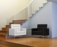 Interior design, anticamera con le poltrone di cuoio Immagini Stock
