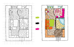 Interior design apartments - top view. Ragged lines, sketch handwork Stock Photography