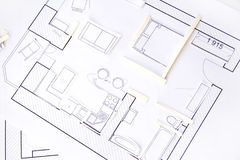 Interior design apartments - top view. Paper model Royalty Free Stock Images