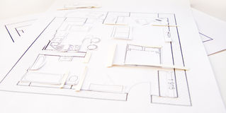 Interior design apartments - top view. Paper model Stock Images