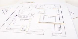 Interior design apartments - top view. Paper model. Interior design apartments - top view stock images