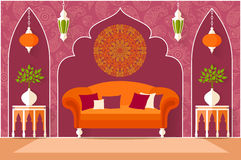 Interior design in the Arab style. Vector illustration Royalty Free Stock Photography