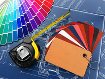 Interior design. Architectural materials tools and blueprints Royalty Free Stock Image