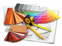 Interior Design. Architectural Materials Tools And Blueprints Stock Photography