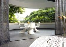 Interior design - balcony. Living area and balcony with curtain Stock Photography