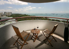Interior design - balcony. Balcony with table and chairs Stock Photography