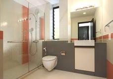Interior design - bathroom. Master bathroom with orange tiles Stock Image
